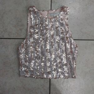 WOMENS SM GOLD DRESSY SEQUIEN TANK TOP FOREVER 21